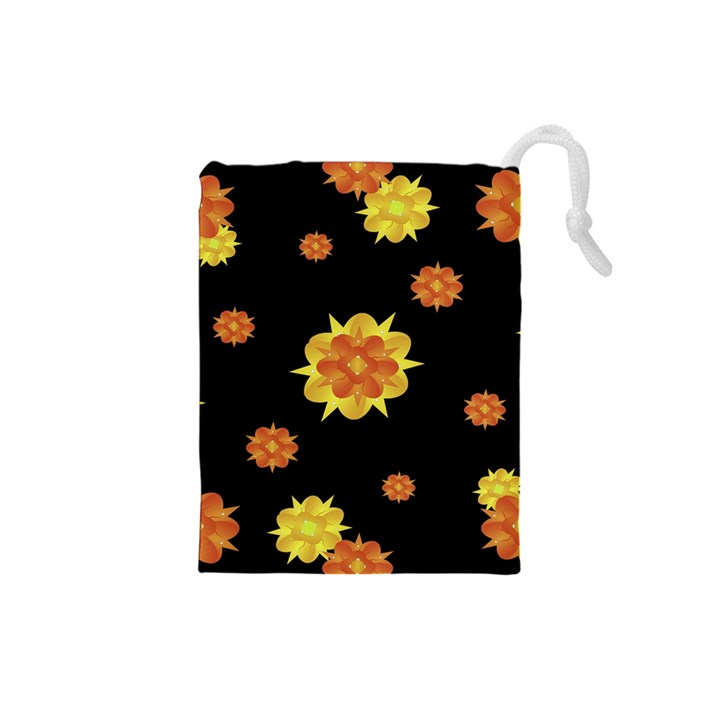 Floral Print Modern Style Pattern  Drawstring Pouch (Small)