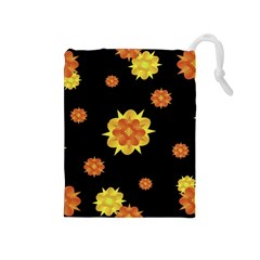 Floral Print Modern Style Pattern  Drawstring Pouch (Medium)