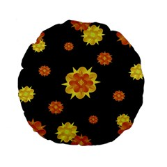 Floral Print Modern Style Pattern  15  Premium Flano Round Cushion