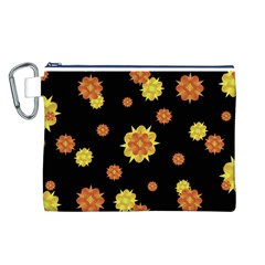 Floral Print Modern Style Pattern  Canvas Cosmetic Bag (Large)