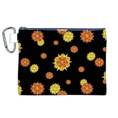 Floral Print Modern Style Pattern  Canvas Cosmetic Bag (XL)