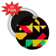 Shapes In Retro Colors 2 2 25  Magnet (10 Pack)