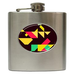 Shapes In Retro Colors 2 Hip Flask (6 Oz)