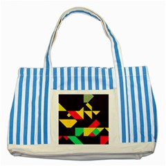 Shapes In Retro Colors 2 Striped Blue Tote Bag