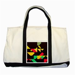 Shapes in retro colors 2 Two Tone Tote Bag