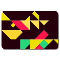 Shapes in retro colors 2 Large Doormat