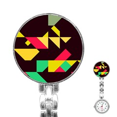 Shapes in retro colors 2 Stainless Steel Nurses Watch