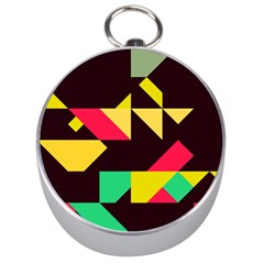 Shapes In Retro Colors 2 Silver Compass