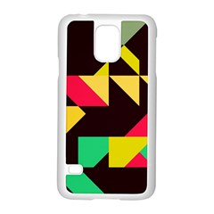 Shapes in retro colors 2 Samsung Galaxy S5 Case (White)
