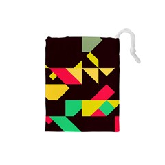 Shapes in retro colors 2 Drawstring Pouch (Small)