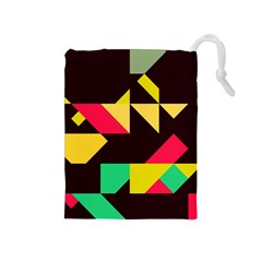 Shapes in retro colors 2 Drawstring Pouch (Medium)