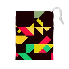Shapes In Retro Colors 2 Drawstring Pouch (large)