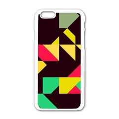 Shapes in retro colors 2 Apple iPhone 6 White Enamel Case
