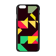 Shapes in retro colors 2 Apple iPhone 6 Black Enamel Case