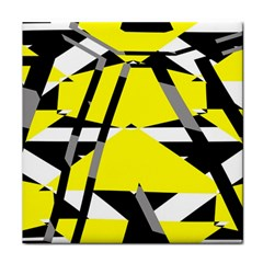 Yellow, Black And White Pieces Abstract Design Tile Coaster