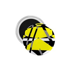 Yellow, Black And White Pieces Abstract Design 1 75  Magnet