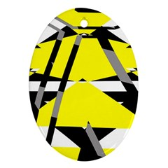 Yellow, Black And White Pieces Abstract Design Ornament (oval)