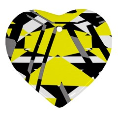 Yellow, Black And White Pieces Abstract Design Ornament (heart)