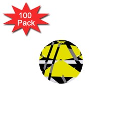 Yellow, Black And White Pieces Abstract Design 1  Mini Button (100 Pack)