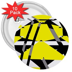 Yellow, Black And White Pieces Abstract Design 3  Button (10 Pack)