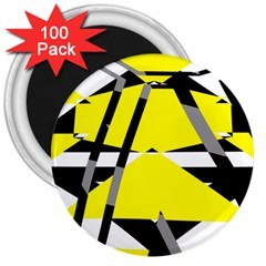 Yellow, Black And White Pieces Abstract Design 3  Magnet (100 Pack)