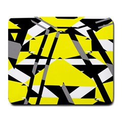 Yellow, Black And White Pieces Abstract Design Large Mousepad