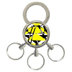 Yellow, black and white pieces abstract design 3-Ring Key Chain