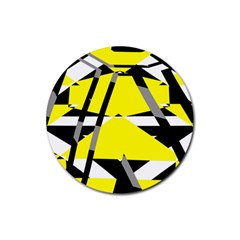 Yellow, Black And White Pieces Abstract Design Rubber Round Coaster (4 Pack)
