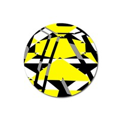 Yellow, Black And White Pieces Abstract Design Magnet 3  (round)