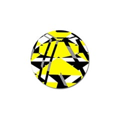 Yellow, Black And White Pieces Abstract Design Golf Ball Marker (10 Pack)