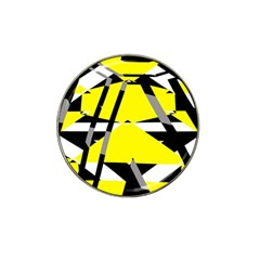 Yellow, Black And White Pieces Abstract Design Hat Clip Ball Marker