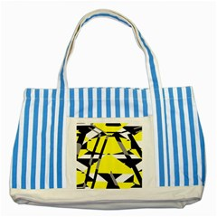 Yellow, black and white pieces abstract design Striped Blue Tote Bag