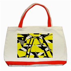Yellow, black and white pieces abstract design Classic Tote Bag (Red)