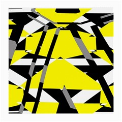 Yellow, Black And White Pieces Abstract Design Glasses Cloth (medium, Two Sides)
