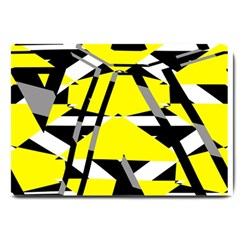Yellow, Black And White Pieces Abstract Design Large Doormat