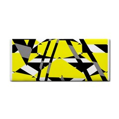 Yellow, black and white pieces abstract design Hand Towel