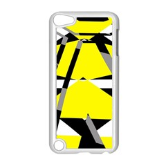 Yellow, black and white pieces abstract design Apple iPod Touch 5 Case (White)