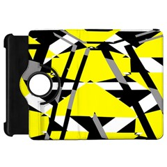 Yellow, black and white pieces abstract design Kindle Fire HD Flip 360 Case