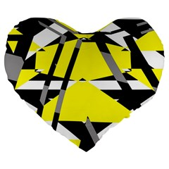Yellow, black and white pieces abstract design 19  Premium Heart Shape Cushion