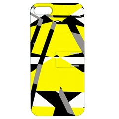 Yellow, Black And White Pieces Abstract Design Apple Iphone 5 Hardshell Case With Stand