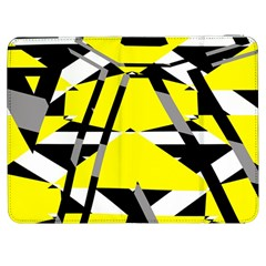 Yellow, Black And White Pieces Abstract Design Samsung Galaxy Tab 7  P1000 Flip Case