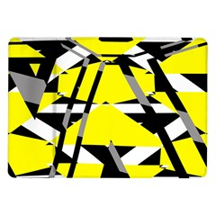 Yellow, black and white pieces abstract design Samsung Galaxy Tab 10.1  P7500 Flip Case