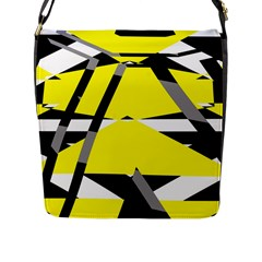 Yellow, Black And White Pieces Abstract Design Flap Closure Messenger Bag (large)