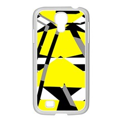 Yellow, black and white pieces abstract design Samsung GALAXY S4 I9500/ I9505 Case (White)
