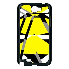 Yellow, black and white pieces abstract design Samsung Galaxy Note 2 Case (Black)