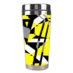 Yellow, Black And White Pieces Abstract Design Stainless Steel Travel Tumbler