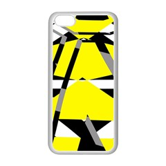 Yellow, black and white pieces abstract design Apple iPhone 5C Seamless Case (White)