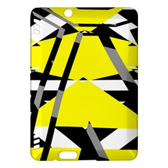Yellow, black and white pieces abstract design Kindle Fire HDX Hardshell Case
