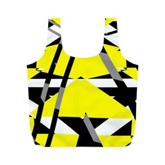 Yellow, black and white pieces abstract design Full Print Recycle Bag (M)