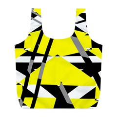 Yellow, black and white pieces abstract design Full Print Recycle Bag (L)